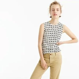 J.Crew Merino Wool Jackie Sweater Shell Bow Print